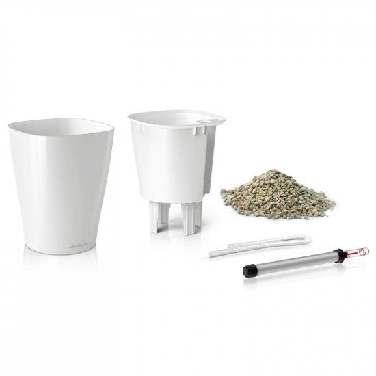 Samozavlažovací stolní květináč Lechuza DELTINI 14, komplet set, bílý-3090