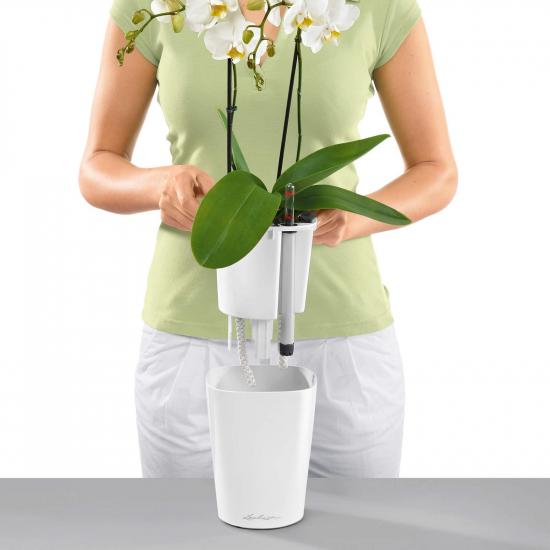 Samozavlažovací stolní květináč Lechuza DELTINI 14, komplet set, bílý-3091
