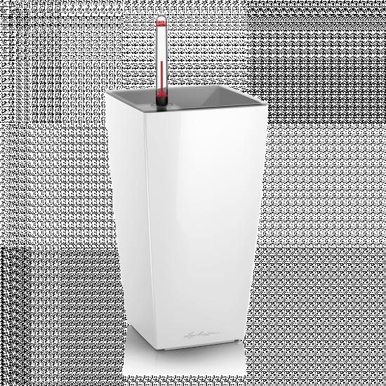Samozavlažovací stolní květináč Lechuza MAXI CUBI 14, komplet set, bílý