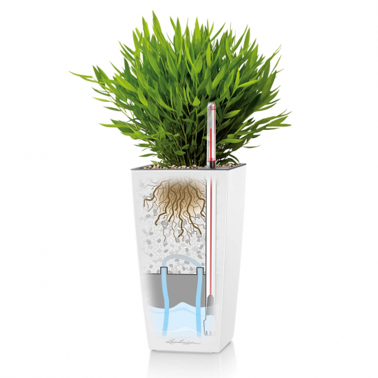 Samozavlažovací stolní květináč Lechuza MAXI CUBI 14, komplet set, bílý-3115