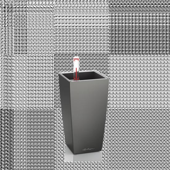 Samozavlažovací stolní květináč Lechuza MINI CUBI 9, komplet set, antracitový