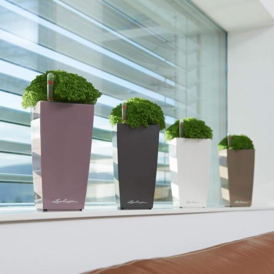 Samozavlažovací stolní květináč Lechuza MINI CUBI 9, komplet set, antracitový-3076