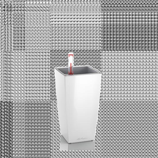 Samozavlažovací stolní květináč Lechuza MINI CUBI 9, komplet set, bílý