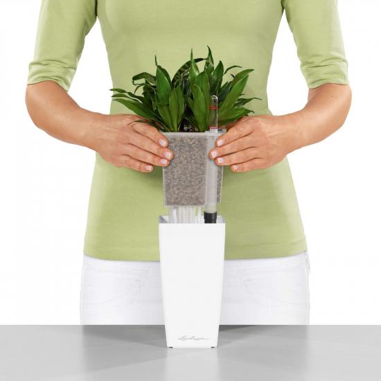 Samozavlažovací stolní květináč Lechuza MINI CUBI 9, komplet set, bílý-3078