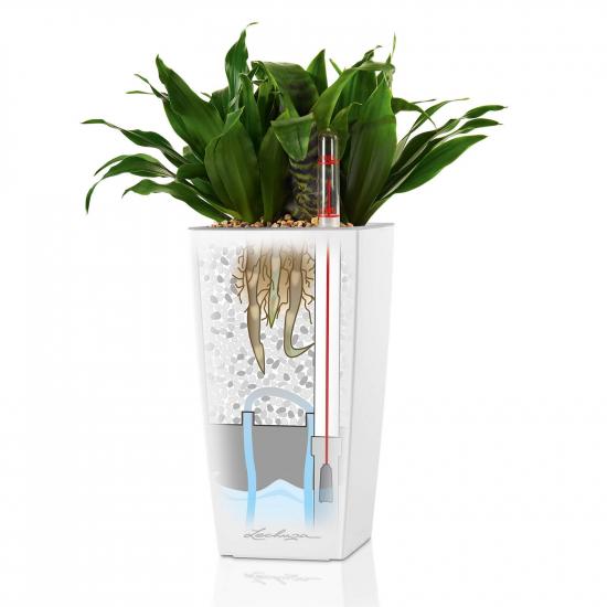 Samozavlažovací stolní květináč Lechuza MINI CUBI 9, komplet set, bílý-3079
