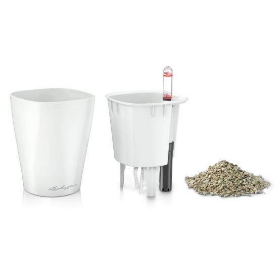 Samozavlažovací stolní květináč Lechuza MINI DELTINI 10, komplet set, bílý-3081