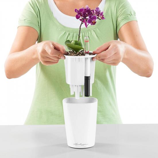 Samozavlažovací stolní květináč Lechuza MINI DELTINI 10, komplet set, bílý-3082