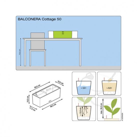 Samozavlažovací truhlík Lechuza BALCONERA Cottage 50 - komplet set, šedý-1288