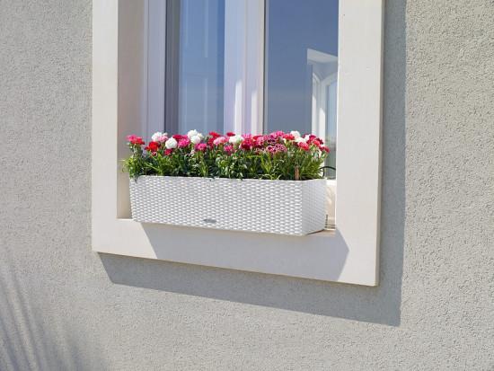 Samozavlažovací truhlík Lechuza BALCONERA Cottage 80 - komplet set, bílý-1404