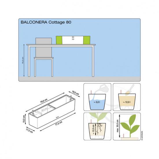 Samozavlažovací truhlík Lechuza BALCONERA Cottage 80 - komplet set, šedý-1418