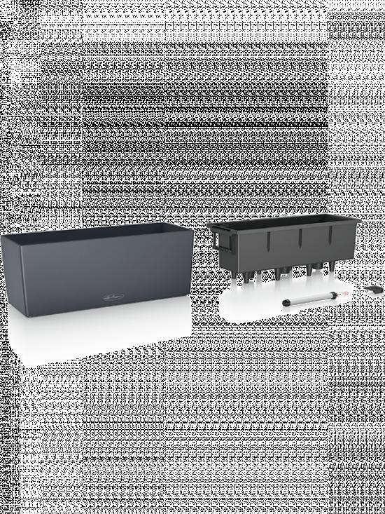 Samozavlažovací truhlík Lechuza BALCONERA hladký 50 - komplet set, antracitový-2600