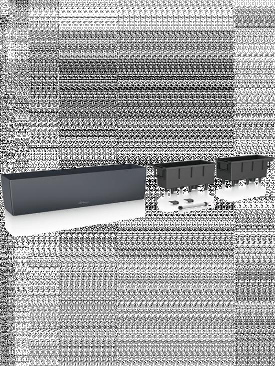 Samozavlažovací truhlík Lechuza BALCONERA hladký 80 - komplet set, antracitový-2604