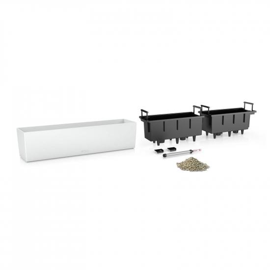 Samozavlažovací truhlík Lechuza BALCONERA hladký 80 - komplet set, bílý-2609