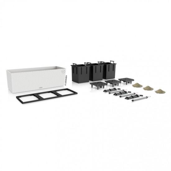 Samozavlažovací truhlík Lechuza BALCONERA TRIO 100 - komplet set, bílý-1304