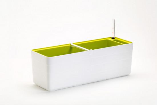 Samozavlažovací truhlík Plastia BERBERIS 60 - komplet set, bílo-zelený-3591