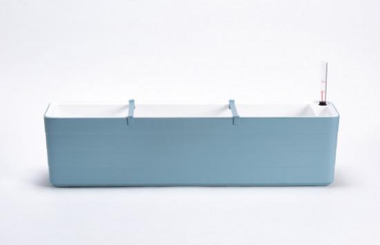 Samozavlažovací truhlík Plastia BERBERIS 80 - komplet set, šedomodro-bílý-3596