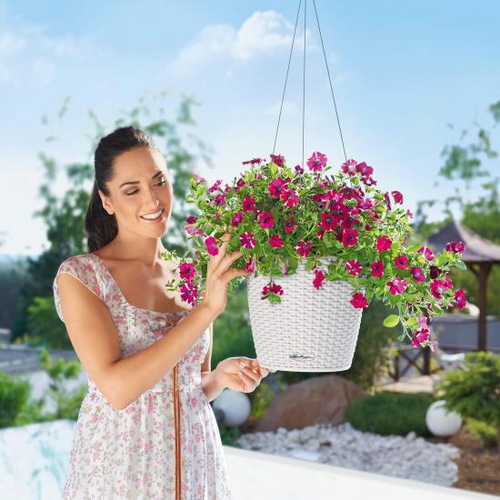 Samozavlažovací závěsný květináč Lechuza NIDO Cottage 27, komplet set, bílý-2638