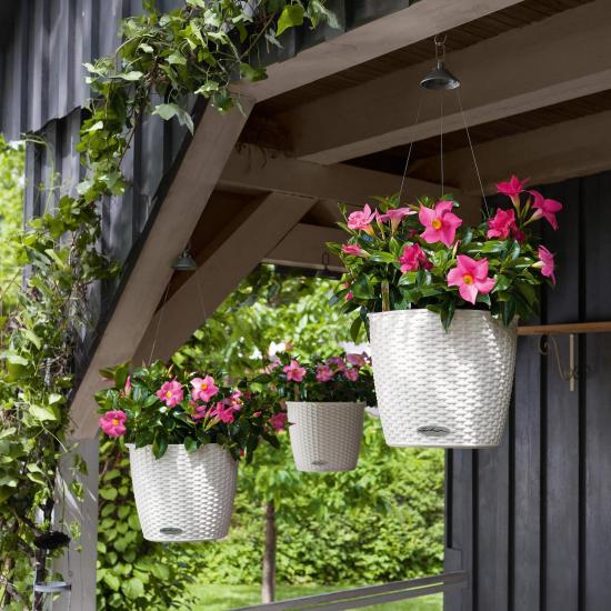 Samozavlažovací závěsný květináč Lechuza NIDO Cottage 27, komplet set, bílý-2639