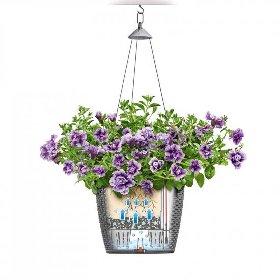 Samozavlažovací závěsný květináč Lechuza NIDO Cottage 27, komplet set, bílý-2640