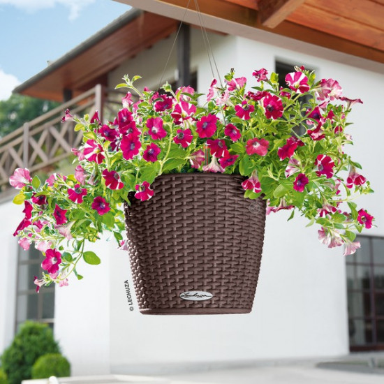 Samozavlažovací závěsný květináč Lechuza NIDO Cottage 27, komplet set, moka-1448