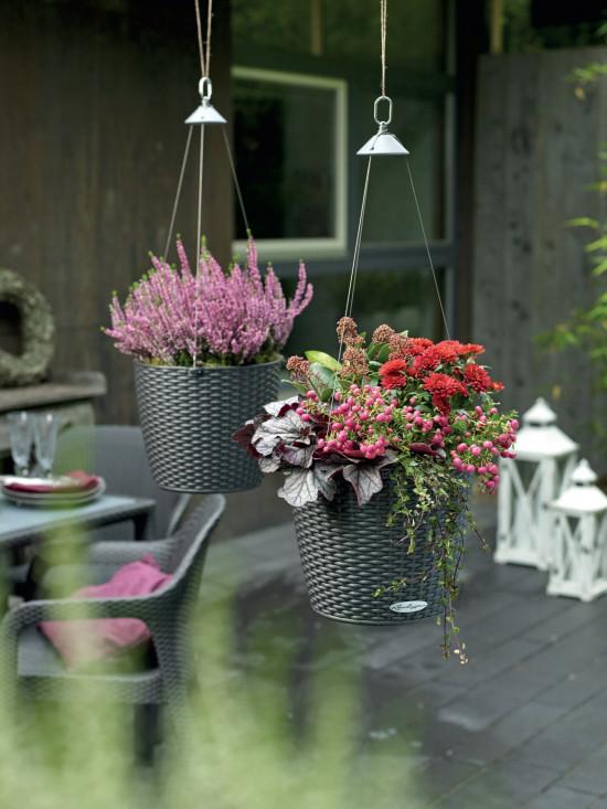 Samozavlažovací závěsný květináč Lechuza NIDO Cottage 27, komplet set, žulová šeď-1353