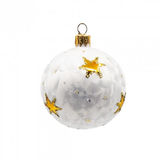 Skleněná vánoční ozdoba, ruční výroba, koule, mrazolak s hvězdami, průměr 7cm, bílá mat-4384