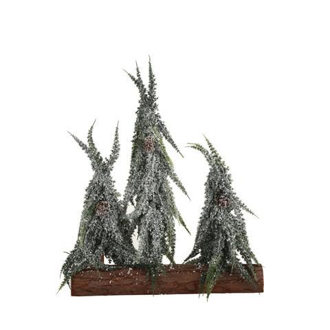 Stromek umělý trojice na kládě zasněžený-4130