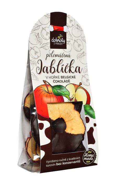 Sušené ovoce v hořké belgické čokoládě, Dobroty z přírody Jablíčka, 70 g