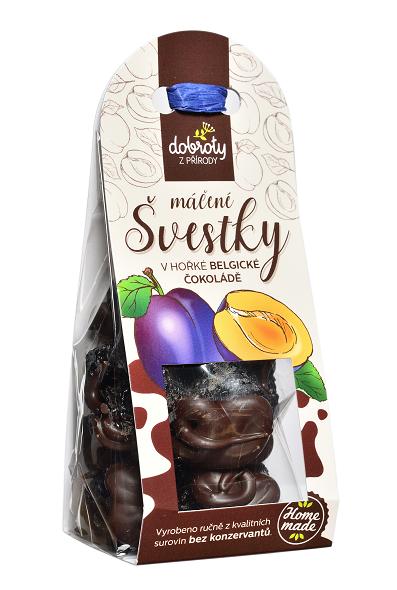 Sušené ovoce v hořké belgické čokoládě, Dobroty z přírody Švestky, 100 g-2410