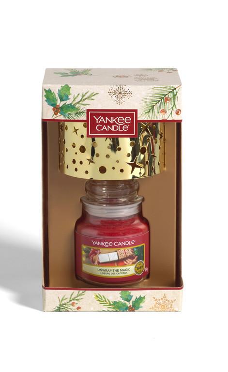 Vánoční dárková sada, Aromatická svíčka Yankee Candle 1 ks, Malé stínítko, hoření až 30 hod-4907