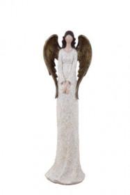 Anděl, dívka stojící BEA, polystone, 7x10x32cm, bílo-zlatá