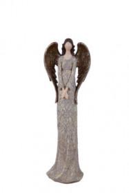 Anděl, dívka stojící BEA, polystone, 7x10x32cm, hnědo-zlatá