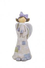 Anděl, dívka stojící s mašlí, polystone, 9x9x23cm, bílo-fialová