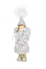 Anděl, dívka stojící se stromkem, polystone, 9x9x26cm, bílo-šedá