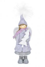 Anděl, stojící dívka se stromkem, polystone, 9x9x26cm, světle fialová