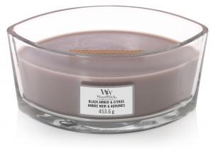 Aromatická svíčka loď, WoodWick Black Amber & Citrus, hoření až 40 hod