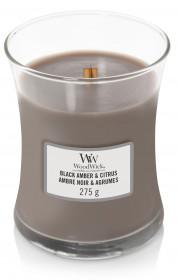 Aromatická svíčka váza, WoodWick Black Amber & Citrus, hoření až 65 hod