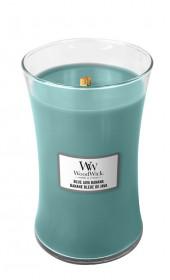 Aromatická svíčka váza, WoodWick Blue Java Banana, hoření až 120 hod