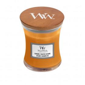 Aromatická svíčka váza, WoodWick Caramel Toasted Sesame, hoření až 30 hod