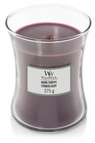 Aromatická svíčka váza, WoodWick Dark Poppy, hoření až 65 hod