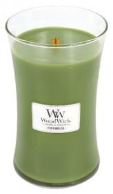 Aromatická svíčka váza, WoodWick Evergreen, hoření až 120 hod
