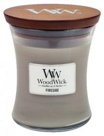 Aromatická svíčka váza, WoodWick Fireside, hoření až 65 hod