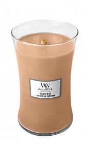 Aromatická svíčka váza, WoodWick Golden Milk, hoření až 120 hod