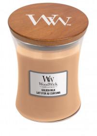 Aromatická svíčka váza, WoodWick Golden Milk, hoření až 65 hod
