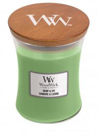 Aromatická svíčka váza, WoodWick Hemp & Ivy, hoření až 65 hod