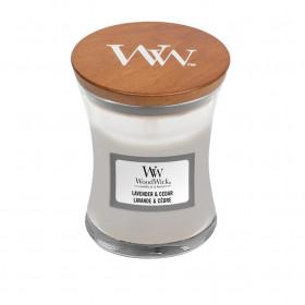 Aromatická svíčka váza, WoodWick Lavender & Cedar, hoření až 30 hod