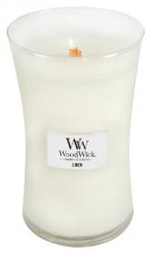 Aromatická svíčka váza, WoodWick Linen, hoření až 120 hod