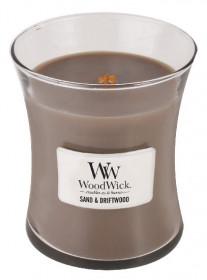 Aromatická svíčka váza, WoodWick Sand & Driftwood, hoření až 65 hod