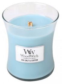 Aromatická svíčka váza, WoodWick Sea Salt & Cotton, hoření až 65 hod