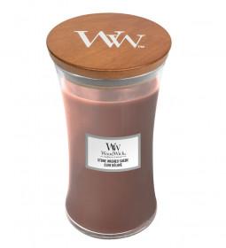 Aromatická svíčka váza, WoodWick Stone Washed Suede, hoření až 120 hod